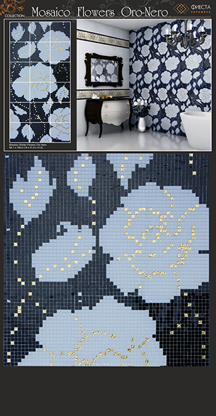 Mosaico WINTER FLOWERS ORO-NERO 100x192 (INFINITY)