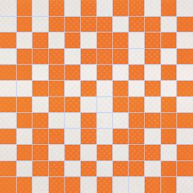Arcobaleno Shine Mosaico White-Orange 30 x 30